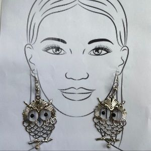 Large Silvertone Owl Statement Earrings